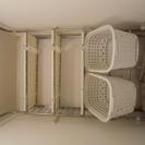 ■中古■洗濯機ラック(突っ張り・バスケット付)