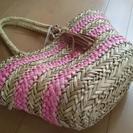 涼しげな 籠バッグ ピンク×ナチュラル ボーダー カゴ