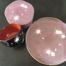 宇野花 お椀、お盆、お茶菓子入れセット