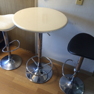ミッドセンチュリー スタイル カウンターテーブル&チェア白黒2脚セット