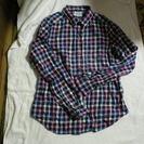 青地に水色ピンク黄色のチェック ネルシャツ Mサイズ