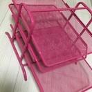 IKEA  3段ラック  ピンク