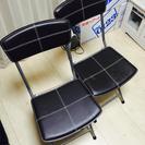 【取引完了】椅子、クロスチェア×2つ(焦茶色、折りたたみ可能、ニト...