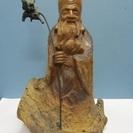 【福禄寿】寿老人◆高さ約46cm◆木彫り彫刻◆縁起物◆長寿