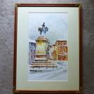 水彩画 イタリア ミラノ広場風景 草土舎購入