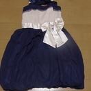 レディース9号 クリーム×青のバルーンドレス