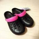 【新品】サンダル SS 18〜19cm? ブラック×ピンク