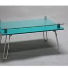 無料!折りたたみ式ガラステーブル(ターコイズブルー)