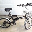 6段変速★20インチ 折り畳み自転車(鍵・カゴ付)