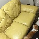 本革のソファ差し上げます(猫のひっかききず有)