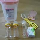 哺乳瓶×3、乳首(Lサイズ)×2、哺乳瓶消毒ケース、ミルクケース、...