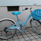 【商談中です】22インチ女の子用自転車(水色、変速つき)