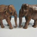 【木彫り】象◆2個セット◆インド◆ペア◆彫刻◆置物◆インテリア