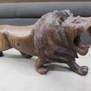 【木彫り】ライオン◆約70cm◆獅子◆置物◆彫刻◆インテリア