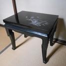 黒うるし塗り 螺鈿彫 サイドテーブル①