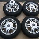 タイヤ付きアルミホイール・13インチ・4本。間に合わせに使えます。