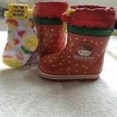 【完売】キティーちゃんの長靴(13cm)と キノコ柄の靴下のセット