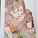 花嫁の色鉛筆画