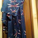 季節外れですが、中古浴衣K  青地ゆかた とんぽ