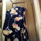 季節外れですが、中古浴衣N  紺地ゆかた なでしこ