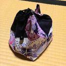 浴衣の巾着 紫 黒のリバーシブル