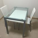ダイニングテーブル 2脚 ガラストップ ニトリ