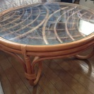 ラタン ガラス丸テーブル