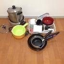 1 or 2 人暮らしのスタートに!食器、鍋釜&調理器具一式