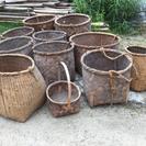 竹籠 かご 大小セット 古道具 *昭和レトロ アンティーク*