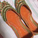 ドバイ バブーシュ☆ オレンジ 革底 サンダル 靴