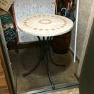 ガーデン テーブル モザイク柄 石板 中古