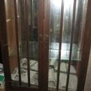 ●イギリス●アンティーク●鏡ガラス飾り棚引出付■キャビネット
