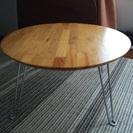 天然木の丸型折りたたみローテーブル