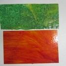【ステンドグラス材料】ガラス板★2枚★オレンジ★グリーン★セット