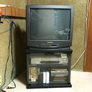 捨てるには心が痛いので、もらって下さい。21型ブラウン管TVとカセ...