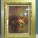 【真下政江】油絵◆油彩画◆肉筆◆山荘の花◆サイン◆額装
