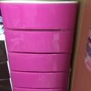 チェストタンス(プラスチック製)ピンク色5段、茶色4段