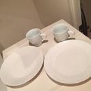 美品♡白い陶器のお皿とマグカップのペアセット