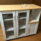 キャスター付き 食器棚 キッチンカウンター 電源タップ付き