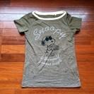 ユニクロ 半袖Tシャツ カーキ地にスヌーピー S