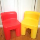 子供用の椅子 赤黄色セット