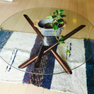 【商談中】オシャレなカフェ風ガラステーブル (難あり)