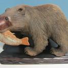 【木彫り熊】彫刻◆置物◆オブジェ◆台座付き◆工芸
