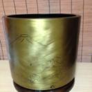 火鉢っぽいインテリア 富士山と松の彫り入り