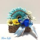 Soap Basket 香りのインテリア ブルーのガーベラ(No.33)