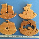 手作り木製パズル ハート
