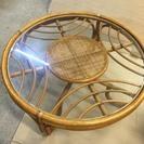 籐製 ガラス丸テーブル