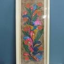 【アマテ絵】鳥と花◆絵画◆メキシコ◆ハンドペイント◆額装