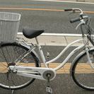 後ろカゴ付きママチャリ 26インチ 自転車 白