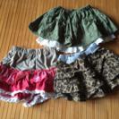 女の子スカート、キュロット3枚セット